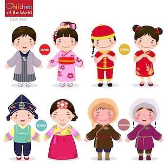 Crianças do mundo japão, china, coréia e mongólia