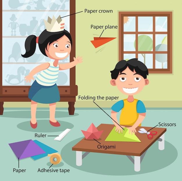 Crianças, dobrando papel