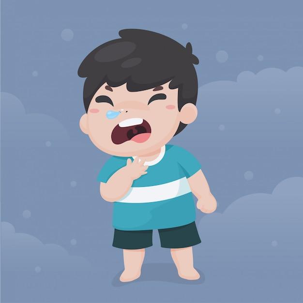 Crianças doentes de desenhos animados dor de garganta e tosse devido a doenças causadas por poeira no ar