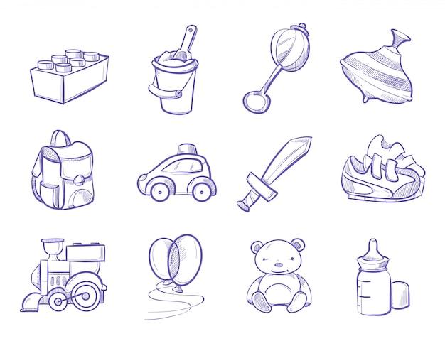 Crianças, doodle, brinquedos, e, bonecas