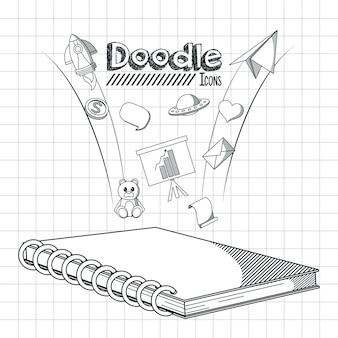 Crianças, doodle, ícones