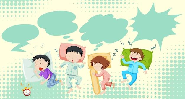 Crianças dormindo na cama