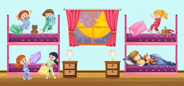 Crianças, dormir, em, quarto