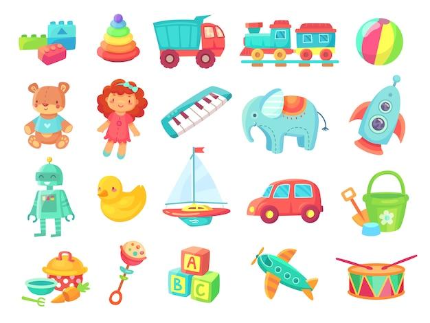 Crianças dos desenhos animados brinquedos. boneca, trem na estrada de ferro, bola, carros, barco, meninos e meninas divertido brinquedo de plástico isolado