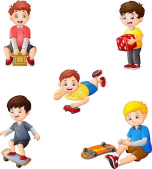 Crianças dos desenhos animados com conjunto de coleta de diferentes hobbies