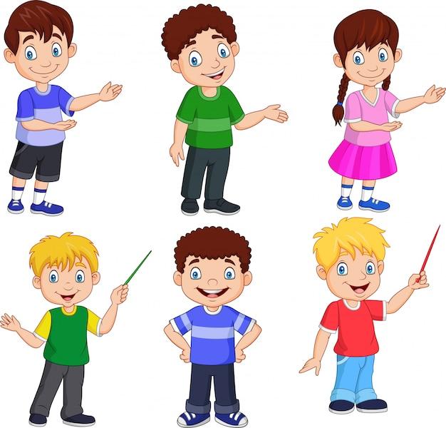 Crianças dos desenhos animados com diferentes posando