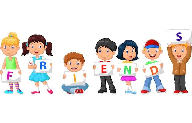 Crianças dos desenhos animados com sinal em branco