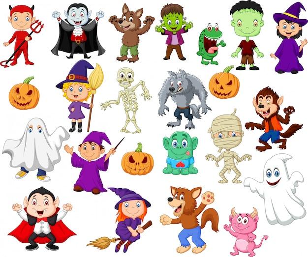Crianças dos desenhos animados com traje de halloween