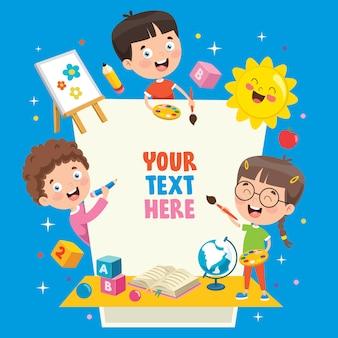 Crianças dos desenhos animados com uma moldura