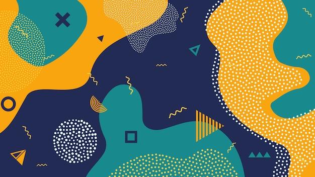 Crianças dos desenhos animados cor splash fundo geométrico