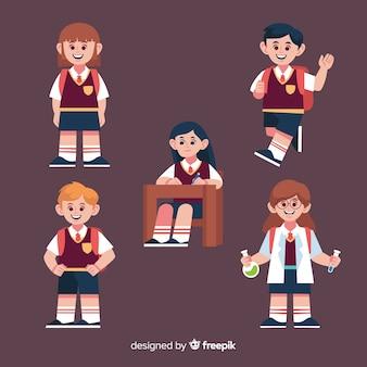 Crianças dos desenhos animados de volta à coleção de escola