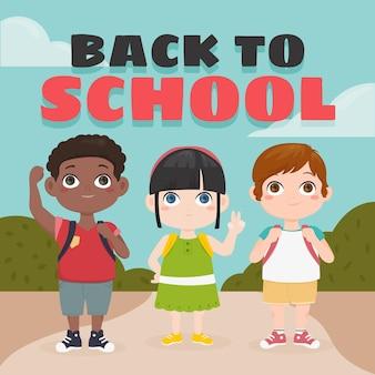Crianças dos desenhos animados de volta à escola
