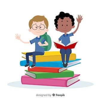 Crianças dos desenhos animados de volta ao fundo da escola