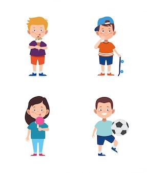 Crianças dos desenhos animados, se divertindo conjunto de ícones