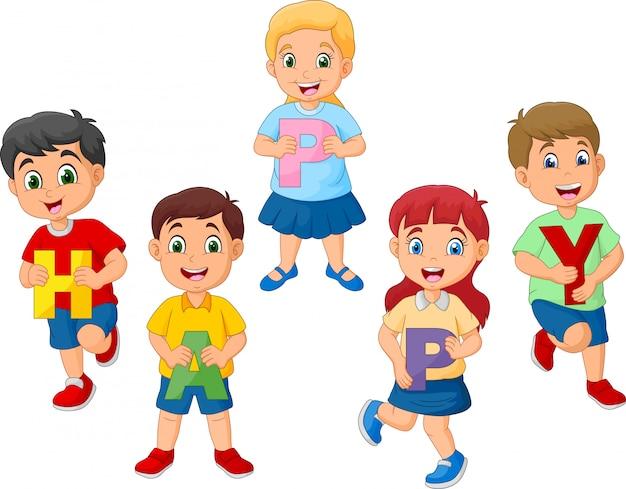 Crianças dos desenhos animados, segurando a letra com a palavra feliz
