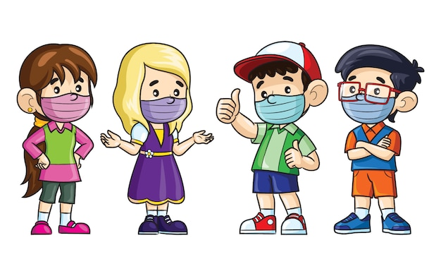 Crianças dos desenhos animados usam máscaras