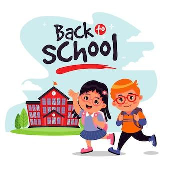 Crianças dos desenhos animados, voltando para a escola
