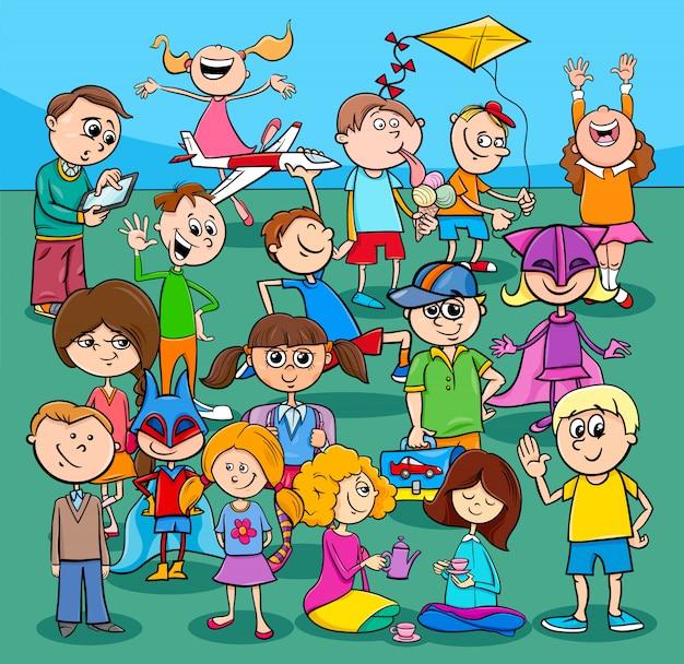 Crianças e adolescentes dos desenhos animados do grupo de personagens