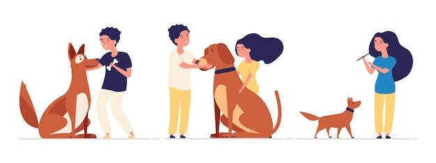 Crianças e animais de estimação. crianças abraçam animais de estimação, melhores amigos são animais.
