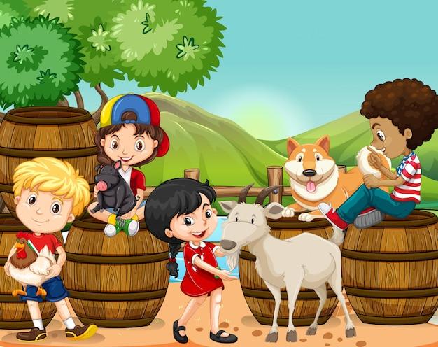 Crianças e animais de fazenda