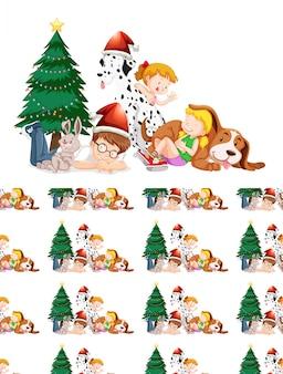 Crianças e árvore de natal