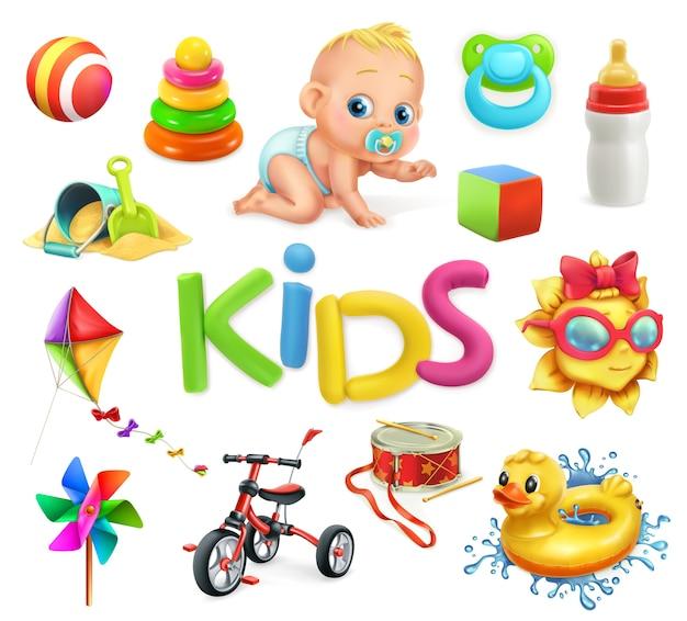 Crianças e brinquedos. conjunto de parquinho infantil