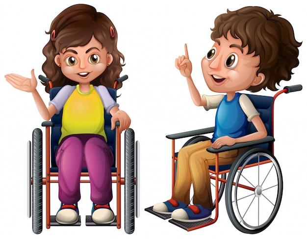 Crianças e cadeira de rodas