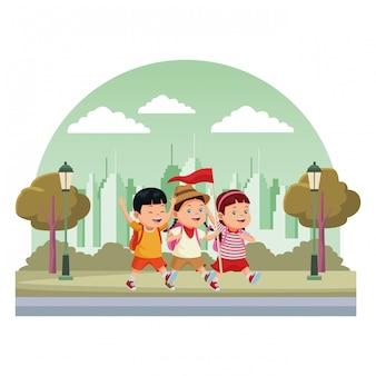 Crianças e cartoons de acampamento de verão