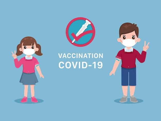 Crianças e crianças recebem a vacina covid19 para protegê-la do vírus