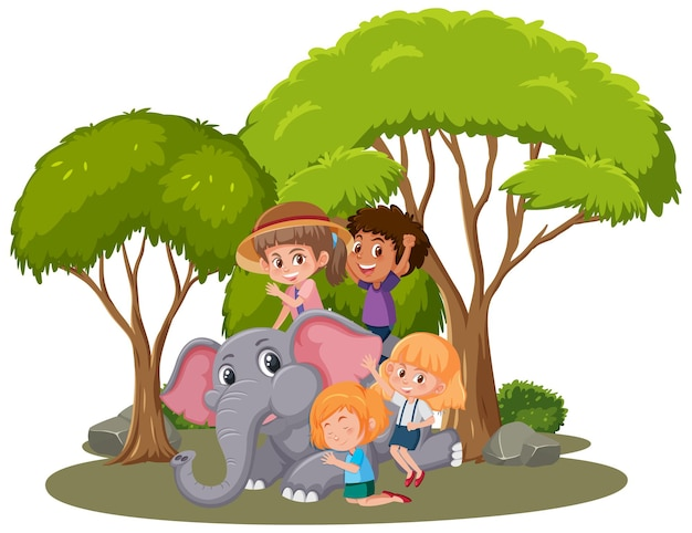 Crianças e elefante feliz em fundo branco