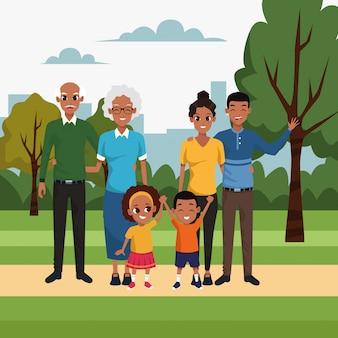 Crianças e família feliz dos desenhos animados