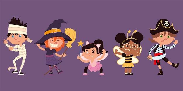Crianças e fantasias de halloween