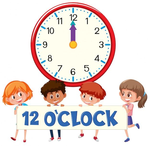 Crianças e hora 12 horas