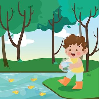 Crianças e ilustração vetorial de aquário