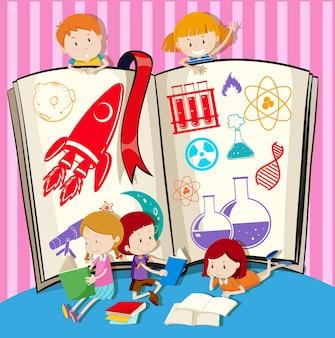 Crianças e livro de ciências