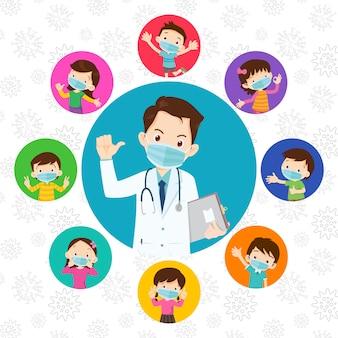 Crianças e médico usando máscara médica protetora contra vírus