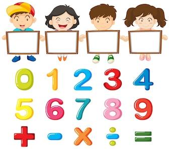 Crianças e números coloridos