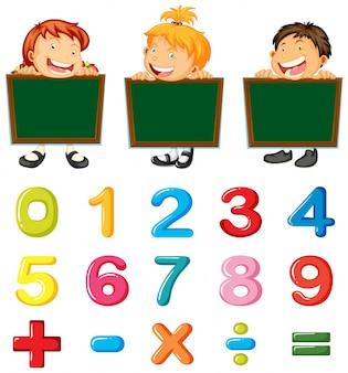 Crianças e números e sinais