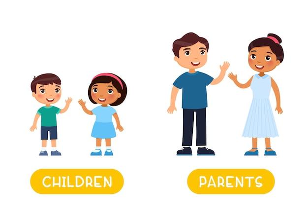 Crianças e pais antônimos palavra cartão opostos flashcard para a aprendizagem da língua inglesa