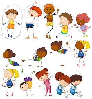 Crianças e pessoas fazendo diferentes exercícios
