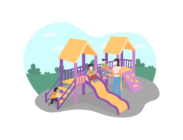 Crianças e professores com máscaras médicas na ilustração de cartaz do playground