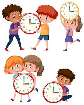 Crianças e tempo no fundo branco