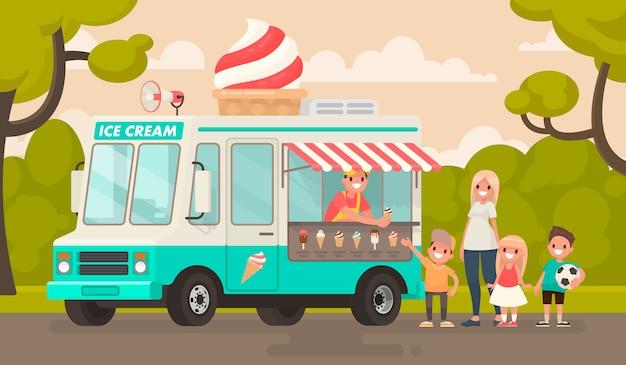 Crianças e um caminhão de sorvete no parque