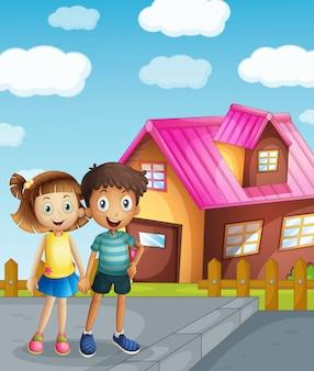 Crianças e uma casa