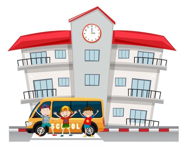 Crianças e van escolar na escola