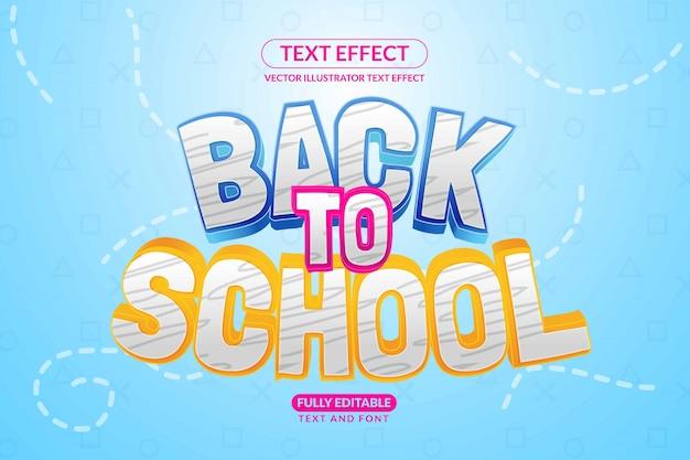 Crianças editáveis de volta ao estilo de efeito de texto escolar