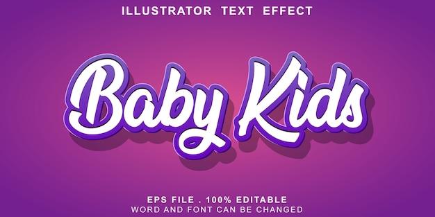 Crianças editáveis do bebê do efeito de texto