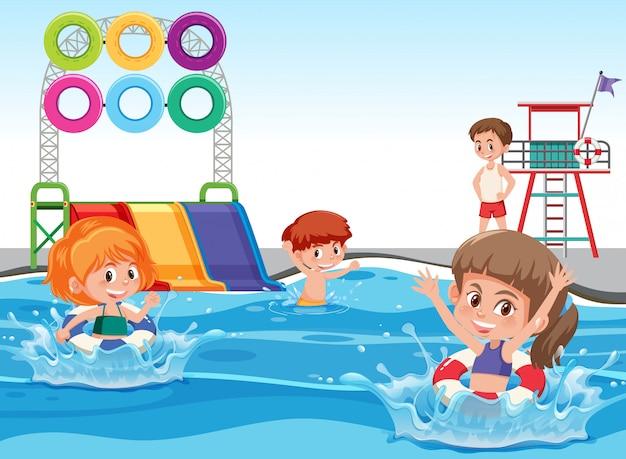 Crianças, em, a, parque água