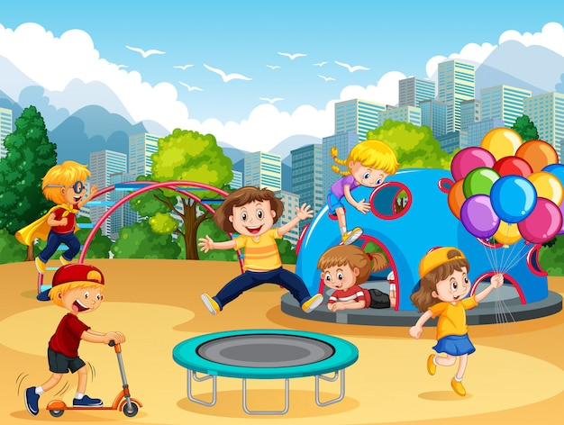 Crianças, em, a, pátio recreio