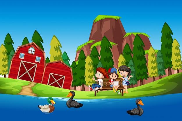 Crianças, em, a, pato, lagoa